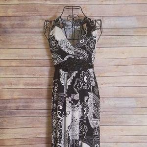 New York & Company S black & white long dress